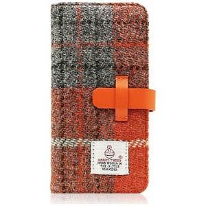 ROA iPhone 7用Harris Tweed Diary オレンジ×グレー SLG Design SD8119i7