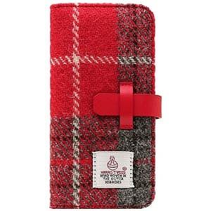 ROA iPhone 7 Plus用Harris Tweed Diary レッド×グレー SD8152i7P
