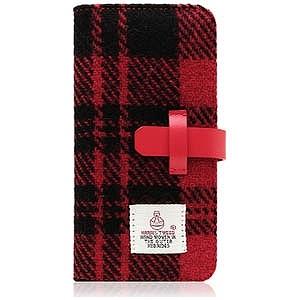 ROA iPhone 7 Plus用Harris Tweed Diary レッド×ブラック SD8153i7P