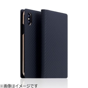 ROA iPhone X用 Carbon Leather case ネイビー  SD10512I8