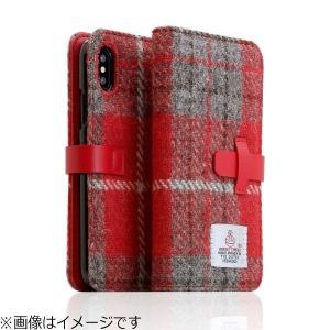 ROA iPhone X用 Harris Tweed Diary レッド×グレー  SD10554I8
