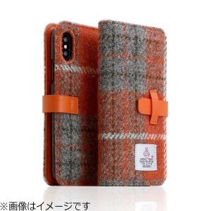 ROA iPhone X用 Harris Tweed Diary オレンジ×グレー SD10555I8