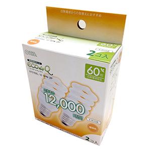 オーム電機 エコ電球 スパイラル60Wタイプ E26 2個入 EFD15EL/12-SPN-2P 電球色