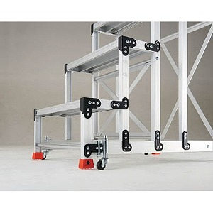 トラスコ中山 TRUSCO 手すり3段4段アルミ作業用踏台スプリングキャスター 4個1セット TSC4A