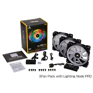 コルセア ケースファン LL120 RGB 3Fan Pack with Lighting Node PRO CO-9050072-WW RGB LED
