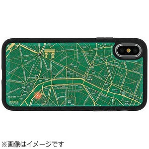 iPhone X用 FLASH PARIS回路地図ケース 緑 PX050G