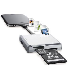 ロジテック Lightningメモリリーダ/SD+microSD対応/Type-C変換アダプタ付属 LMR-MB15SV