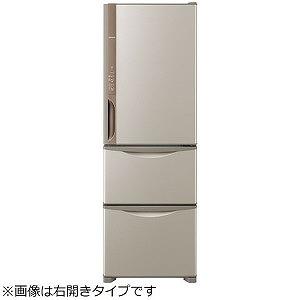 日立 3ドア冷蔵庫(375L・左開き) R-K38JVL-T ライトブラウン(標準設置無料)