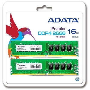 ADATA 増設メモリ DDR4 2666 Unbuffered-DIMM 16GB 8GB×2枚組 AD4U266638G19-2 [DIMM DDR4 /8GB /2枚]