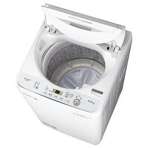 シャープ 全自動洗濯機 [洗濯5.5kg] ES-GE5C-W ホワイト系(標準設置無料)