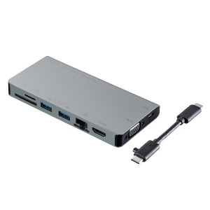 サンワサプライ 0.03m USB Type-C ドッキングハブ Power Delivery対応 USB-3TCH13S