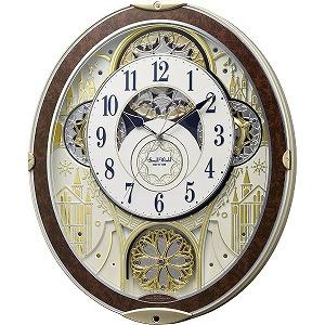 リズム時計工業 電波からくり時計 スモールワールドノエルNS 8MN407RH23 木目仕上げ(白)