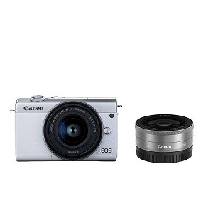キヤノン ミラーレス一眼カメラ EOS M200 ダブルレンズキット ホワイト [ズームレンズ+単焦点レンズ] EOSM200WHWLK