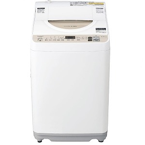シャープ SHARP 洗濯機乾燥機 [洗濯機5.5kg/乾燥機3.5kg/ヒーター乾燥/上開き] ES-T5DBK-N ゴールド系(標準設置無料)