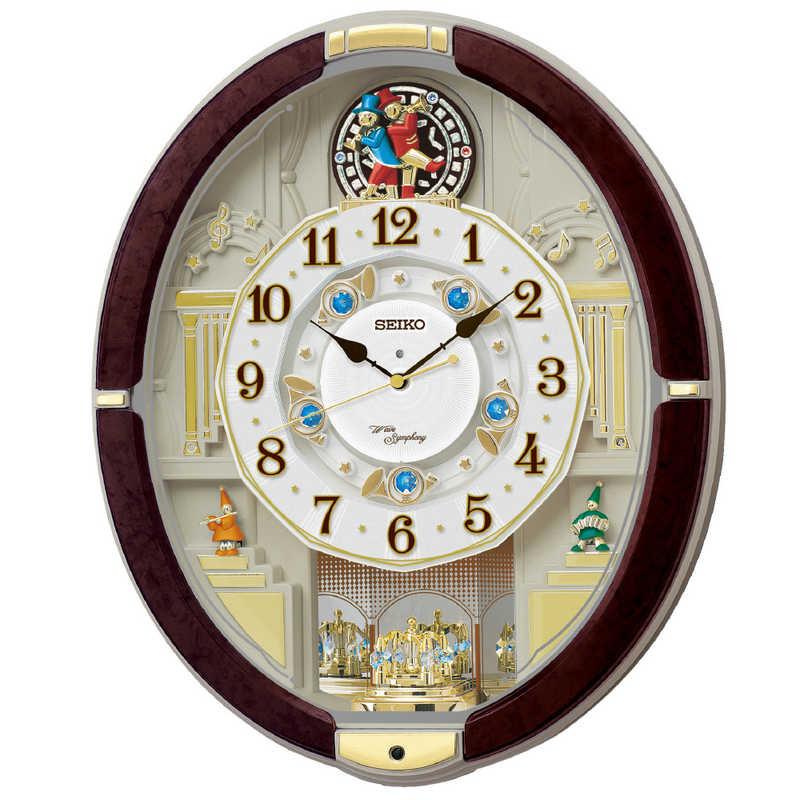 新商品!新型 セイコー からくり時計 ウェーブシンフォニー RE581B 迅速な対応で商品をお届け致します 濃茶マーブル模様