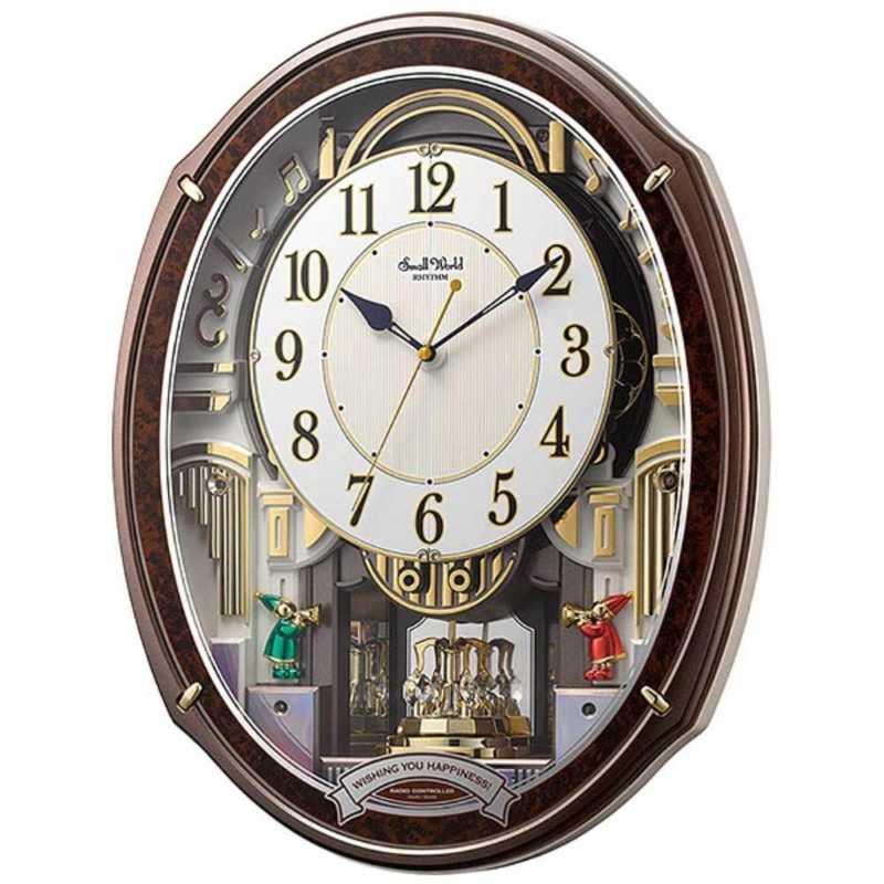 リズム時計 電波からくり時計 在庫一掃 4MN545RH23 ご注文で当日配送 スモールワールドアルディ