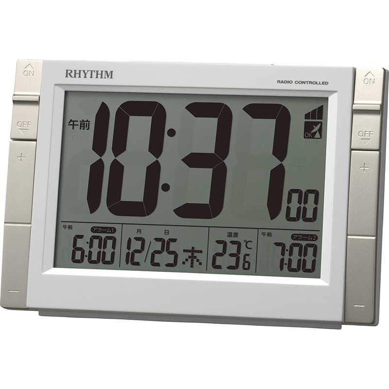 合計3 記念日 980円以上で送料無料 秀逸 更に代引き手数料も無料 リズム時計 白 8RZ223SR03 大画面デジタル電波目覚まし時計 フィットウェーブD223