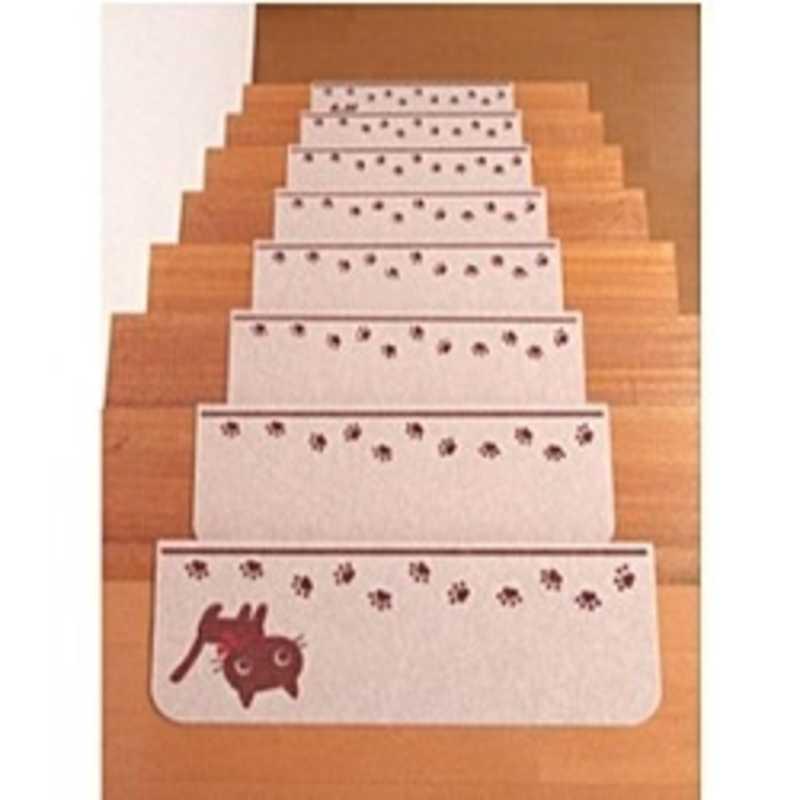 サンコー 低価格化 「バリアフリー」折り曲げ付階段マット 45×21cm ネコ KD‐57 当店は最高な サービスを提供します 15枚入