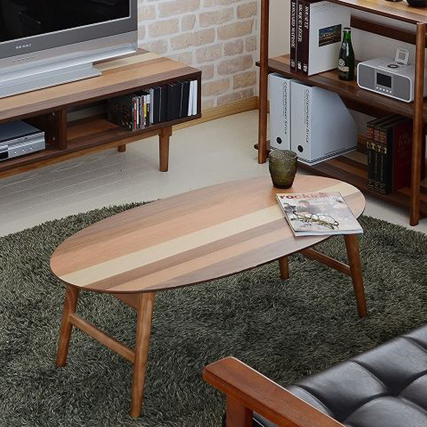 BBファニシング YOGEAR ヨギア オーバルテーブル 折りたたみ テーブル センターテーブル ローテーブル リビングテーブル 木製 折り畳み式 楕円形 YOOT-100