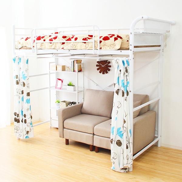 ロフトベッド パイプベッド ハンガーラック 低い ( ベッド 二段ベッド 寝具 快眠 熟睡 収納 子供部屋 )