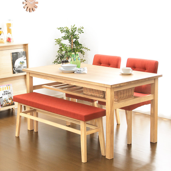 ダイニングテーブルセット ダイニングセット おしゃれ 安い 北欧 食卓 4人用 四人用 3人 135×80 椅子 2脚 ベンチ 1脚 天然木 ナチュラル カントリー