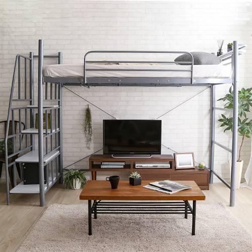 ロフトベッド シングル パイプベッド 頑丈 丈夫 ハイタイプ ハイベッド 子供 大人用 システムベッド 一人暮らし スペース活用 階段付き 宮付き コンセント付き