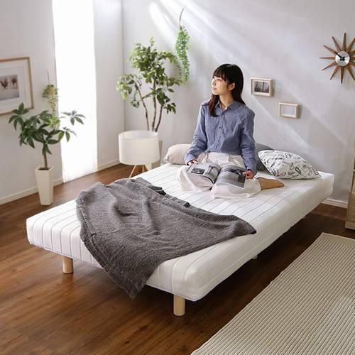 ベッド シングル ベット ベッドフレーム おしゃれ 安い 北欧 一人暮らし 脚付き マットレスベッド ローベッド 低床 ヘッドレス ノーヘッド 足付 マットレス ( ポケットコイル ) 宮無し