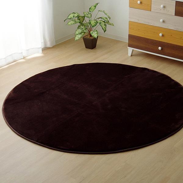 ラグ ラグマット ダイニングラグ マット 絨毯 じゅうたん 厚手 おしゃれ 北欧 安い フランネル フランネルラグ 低反発 床暖房 185 丸型 丸 円 円形 3畳 ブラウン