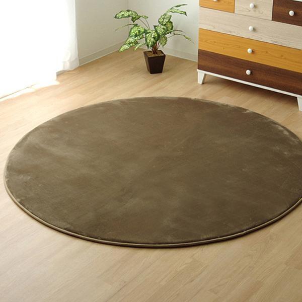 ラグ ラグマット ダイニングラグ マット 絨毯 じゅうたん 厚手 おしゃれ 北欧 安い フランネル フランネルラグ 低反発 床暖房 185 丸型 丸 円 円形 3畳 ベージュ