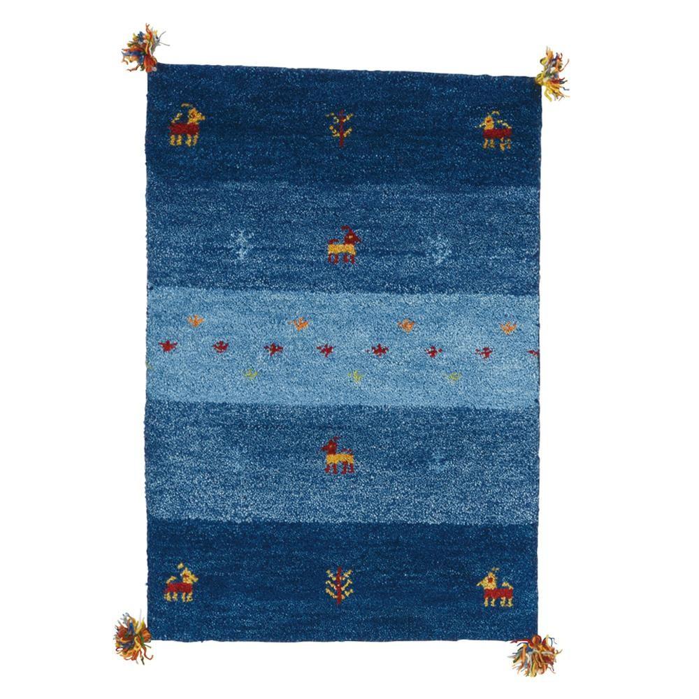 ギャッベ 玄関マット 室内 屋内 おしゃれ 北欧 北欧風 ラグ ラグマット カーペット 小さい 小さめ ウール 厚手 ふかふか ふわふわ オールシーズン 60×90 ブルー