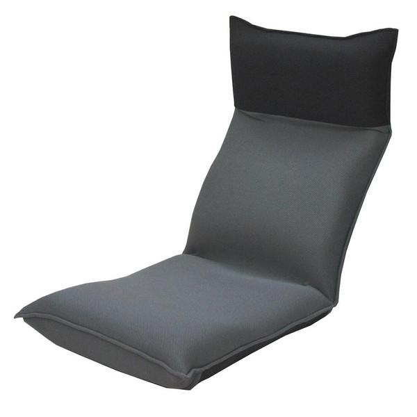 座椅子 リクライニングチェア 低い 椅子 一人暮らし コンパクト ローチェア こたつ おしゃれ 1人掛け 一人掛け ヘッドレスト メッシュ ブラック×グレー