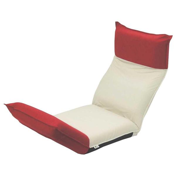 座椅子 リクライニングチェア 低い 椅子 一人暮らし コンパクト ローチェア こたつ おしゃれ 1人掛け 一人掛け ヘッドレスト リクライニング モダン アイボリー×レッド