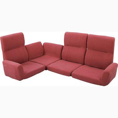 ローソファ コーナーソファ レッド 赤 ( ソファ 座椅子 ソファー ソファベッド カウチ リクライニング リビング ) 低い