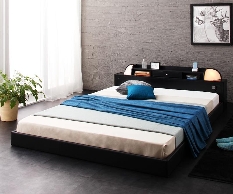 ベッド ベット 安い ダブル ダブルベッド ダブルベット ダブルサイズ ライト コンセント付き ( ボンネル マットレス付き / ハード ) ブラック 黒