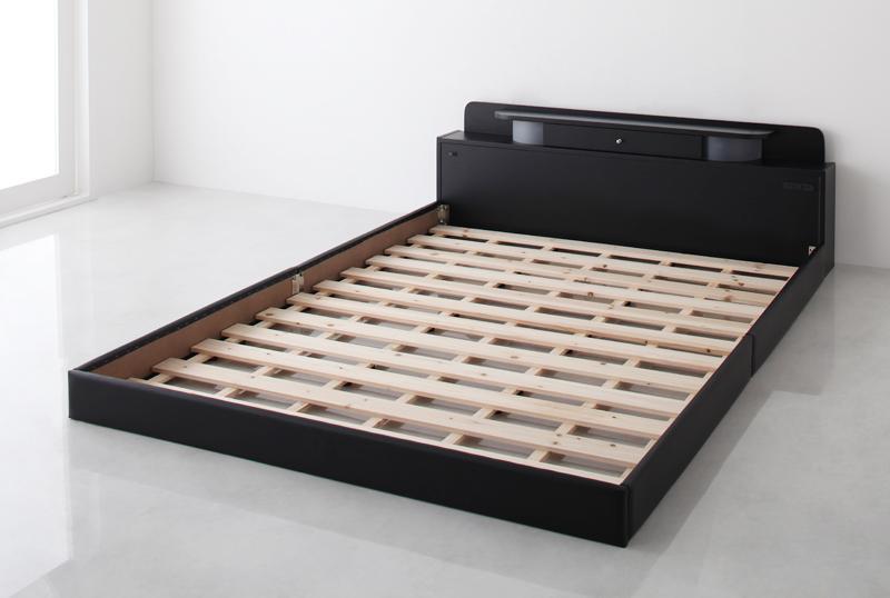 ベッド 安い シングル シングルベッド シングルサイズ ローベッド 低いベッド 低い ライト 宮付き 棚 コンセント付き ( フレームのみ ) ブラック 黒