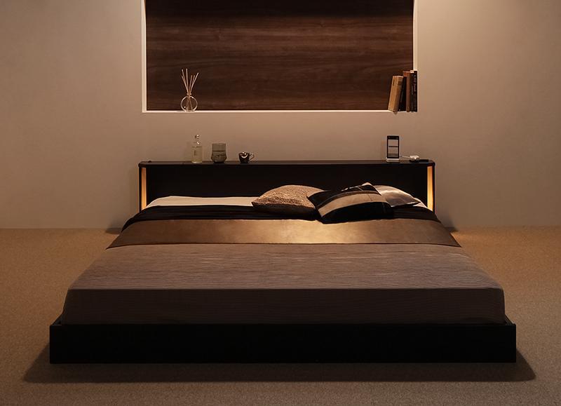 ベッド ベット 安い ダブル ダブルベッド ダブルベット ダブルサイズ ローベッド 低いベッド 低い ライト コンセント付き 棚 ( ポケット マットレス付き ハード ) ダークブラウン