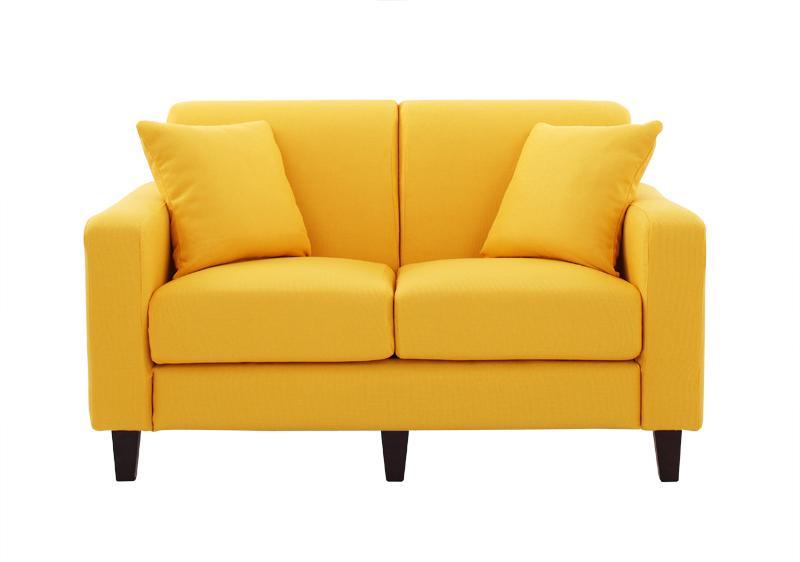 ソファー ソファ 2人掛け 二人掛け 2人用 二人用 おしゃれ 布 ファブリック 北欧 カフェ リビング 座椅子 ローソファ カバー付き  ( スタンダード(幅130) Hイエロー 黄色 角錐/DB )