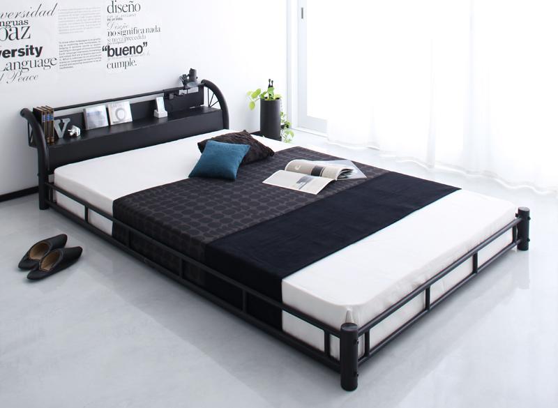 ベッド 安い セミダブル セミダブルベッド セミダブルサイズ ローベッド 低いベッド 低い 棚 コンセント付き ( 日本製 ポケット マットレス付き ) ブラック 黒