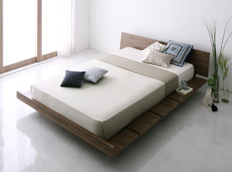 ベッド ベット 安い キング キングサイズ キングベッド キングベット ( 日本製 ポケット マットレス付き 幅140 ワイドステージ ) ウォルナット ブラウン