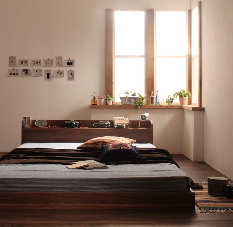 ベッド シングル ローベッド ロータイプ 低い フロアベッド 低床 棚 ラック 宮付き ヘッドボード 枕元 携帯 スマホ ティッシュ メガネ リモコン コンセント 充電 フレーム 北欧 おしゃれ モダン ヴィンテージ メンズ PボンネルCマットレス付き
