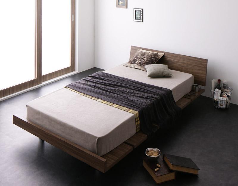 ベッド シングル ローベッド ロータイプ 低い フロアベッド 低床 フレーム フラット ヘッドボード 薄型 板 北欧 おしゃれ モダン ヴィンテージ メンズ 脚付き 足付 ルンバ 土台 PポケットCマットレス付き ステージ 枠幅120