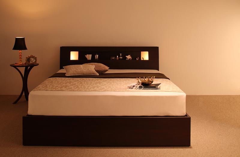 ベッド 安い セミダブル セミダブルベッド セミダブルサイズ ライト コンセント付き 収納付き ( ボンネル マットレス付き / ハード ) ダークブラウン