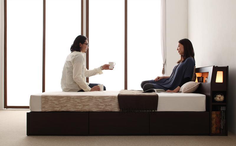 ベッド ベット 安い ダブル ダブルベッド ダブルベット ダブルサイズ ライト コンセント付き 収納付き ( 日本製 ポケット マットレス付き ) ダークブラウン