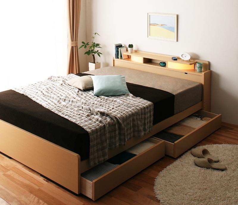 ベッド ベット 安い ダブル ダブルベッド ダブルベット ダブルサイズ ライト 棚 宮 収納付き ( ボンネル マットレス付き ) ブラウン