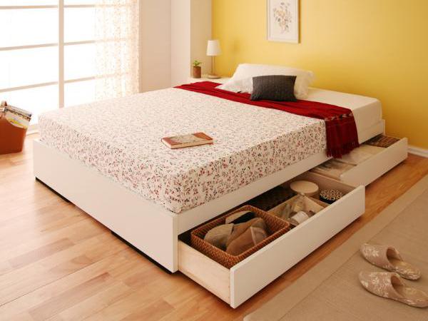 ベッド 安い ダブル ダブルベッド ダブルサイズ 収納付き ( ラテックス入 日本製 ポケット マットレス付き ) ホワイト 白