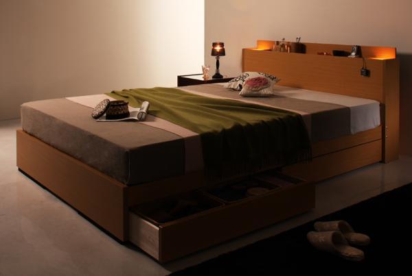 ベッド ベット 安い ダブル ダブルベッド ダブルベット ダブルサイズ ライト コンセント付き 収納付き ( ポケット マットレス付き ) ナチュラル