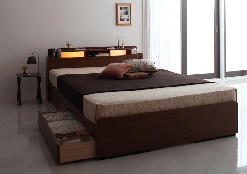 ベッド ベット 安い ダブル ダブルベッド ダブルベット ダブルサイズ 収納付き 宮付き ライト 棚 宮 ( ボンネル マットレス付き ) ブラウン