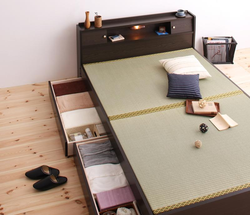 ベッド ベット 安い シングル シングルベッド シングルベット シングルサイズ 収納付き 畳ベッド 宮付き 日本製 ライト 棚 宮 ( ダークブラウン )