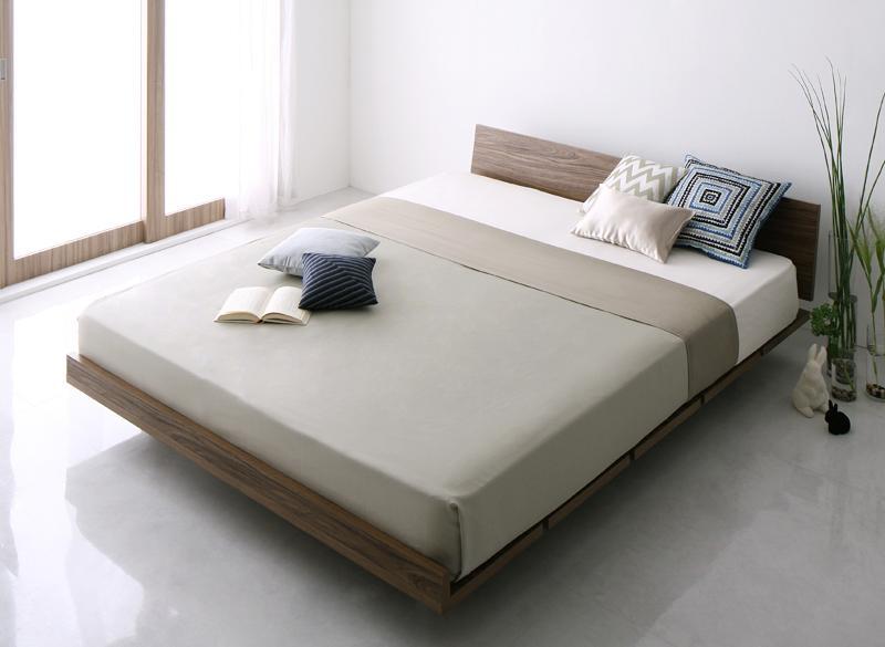 ベッド 安い キング キングサイズ キングベッド ( マルチラスSS マットレス付き 幅180 / フル ) ウォルナット ブラウン