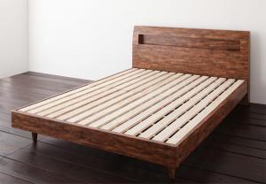 ベッド 安い セミダブル セミダブルベッド セミダブルサイズ 棚 コンセント付き すのこベッド ( フレームのみ ) シャビーブラウン